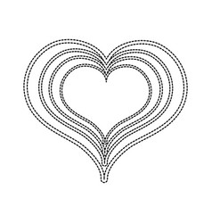 Dotted shape heart love with engraving design vector