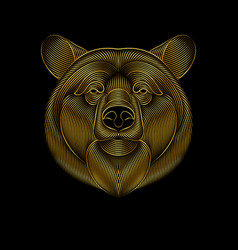 engraving stylized golden bear on black vector image
