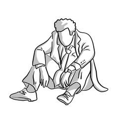 fail businessman sitting on the ground vector image