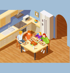 Family dinner in kitchen isometric image vector