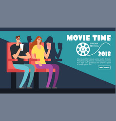 Film cinema festival poster movie time couple vector