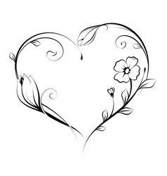 floral heart shape design vector image