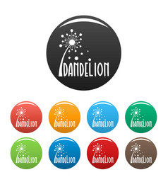 Forest dandelion logo icons set color vector