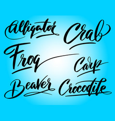 Frog and carp hand written typography vector