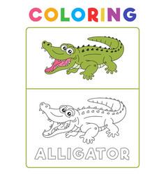 funny alligator crocodile animal coloring book vector image
