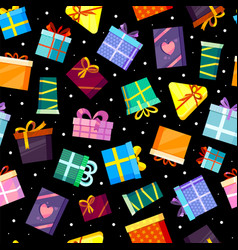 gifts boxes pattern colored xmas valentine and vector image