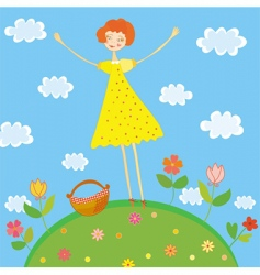 girl on picnic vector image