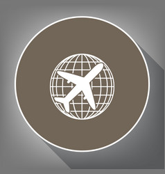 globe and plane travel sign white icon on vector image