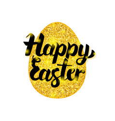 gold happy easter greeting vector image
