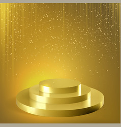 Golden podium glitter confetti background vector