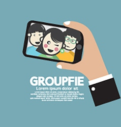 Groupfie A Group Selfie By Phone vector image