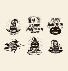 Halloween logo or label lettering calligraphy vector