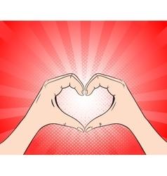 Hand heart retro style pop art vector image