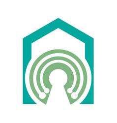 house tech logo concept- logo concept home vector image
