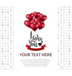 I love you design with heart balloon and red vector