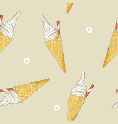 ice-cream cone seamless pattern vector image