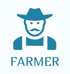 Icon or sign of farmer in flat style vector