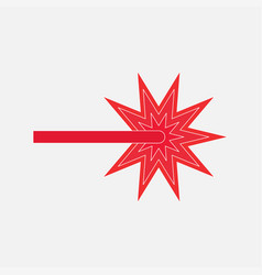 Icon red laser beam vector