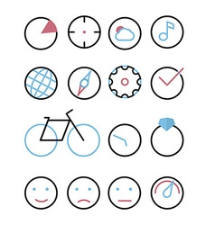 Icons with element - circle chart sight cloud vector