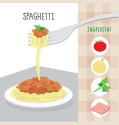 international food spaghetti ingredient cartoon vector image