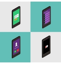 Isometric icon set of mobile phone in flat style vector image