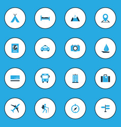 Journey colorful icons set collection of map pin vector