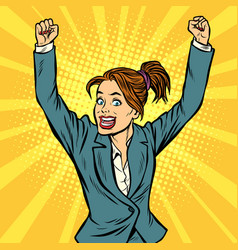 Joyful woman winning hand gesture up vector