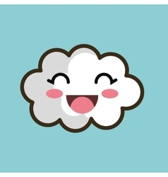 Kawaii cloud smiling eyes design vector