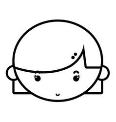 Line child girl face with hairstyle design vector