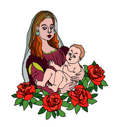 Madonna with her child in arms red roses vector