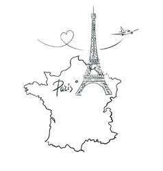 Map of France with Eiffel tower vector