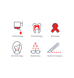 medical specialization symbols set hematology vector image