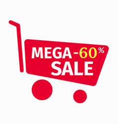 Mega sale banner design template 60 percent vector
