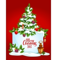 Merry Christmas tree poster greeting card vector image