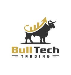 Modern investment bull logo vector