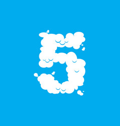 Number 5 cloud font symbol white alphabet sign vector