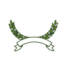 Olive arch in green color and ribbon on bottom vector