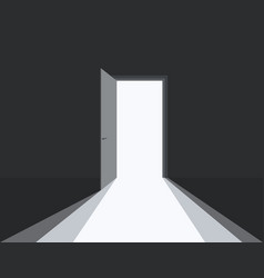 Open door in dark room symbol hope or solution vector
