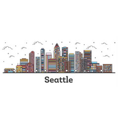 Outline seattle washington city skyline with vector