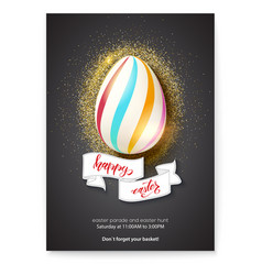 painted egg on glittering shining dust vector image