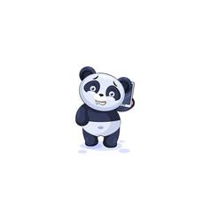 panda sticker emoticon with smart phone vector image