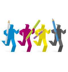 paper figures colored in print colors design team vector image