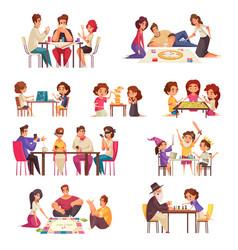 people board games icon set vector image