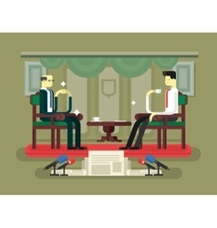 Politician interview flat design vector image
