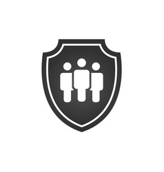 Privacy icon flat shield with three people vector