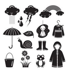Rainy season icons set monochrome vector