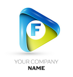 Realistic letter f logo colorful triangle vector