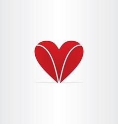 Red letter v heart valentine symbol vector