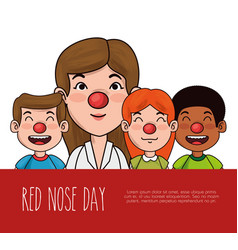 red nose day people with red nose vector image