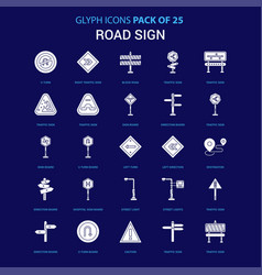 Road sign white icon over blue background 25 icon vector